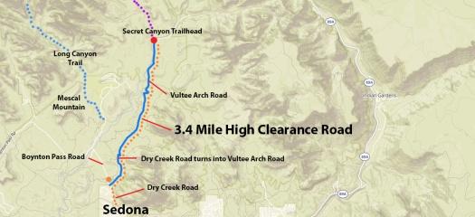 Map to Secret Canyon Trail